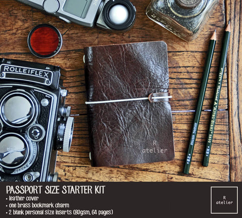 R.atelier Passport Size Traveler's Notebook Leather Cover | Dark Coffee | Starter Kit