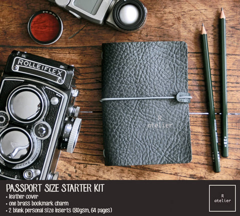 R.atelier Traveler's Notebook Leather Cover | Midnight Green | Passport Size Starter Kit