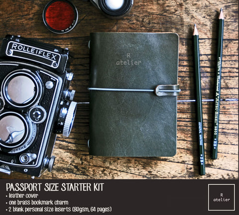 R.atelier Traveler's Notebook Leather Cover | Dark Olive Green | Passport Size Starter Kit