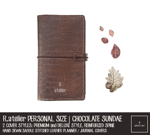 R.atelier Personal Size Traveler's Notebook Leather Cover | Chocolate Sundae