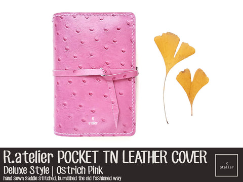 R.atelier Field Notes Pocket TN Leather Journal Cover | Ostrich Pink