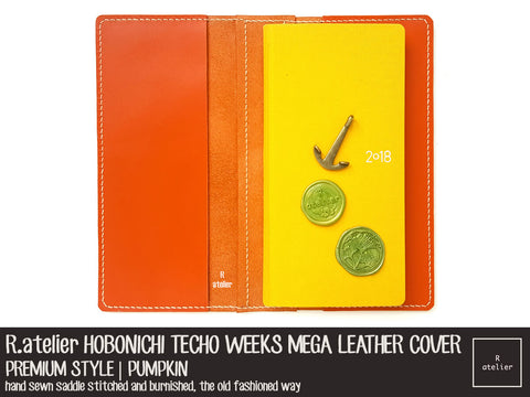 R atelier Hobonichi Weeks Mega Leather Folio | Pumpkin