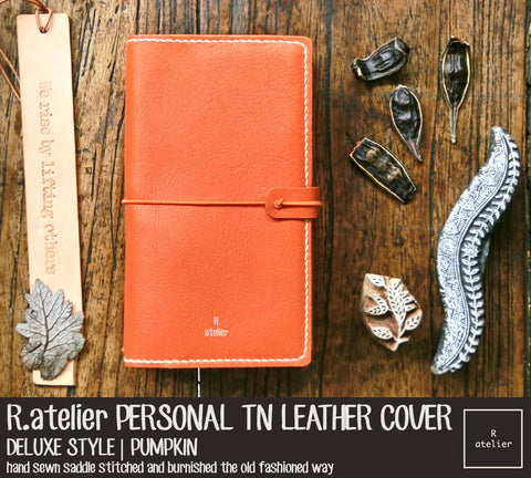 R.atelier Personal Size Traveler's Notebook Leather Cover | Deluxe Style | Pumpkin