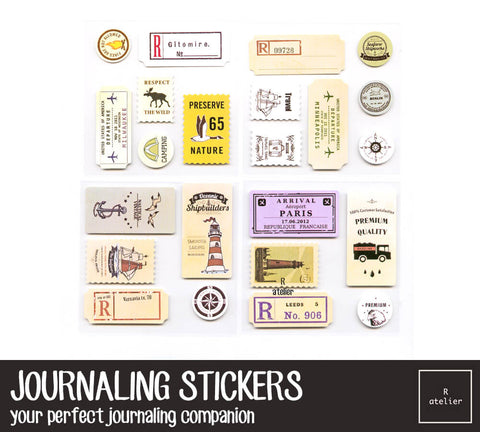 Retro Postmarks Airmail Travel Stickers | Version 2
