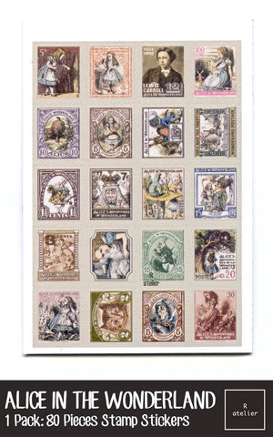 Alice in the Wonderland Stamp Stickers Set