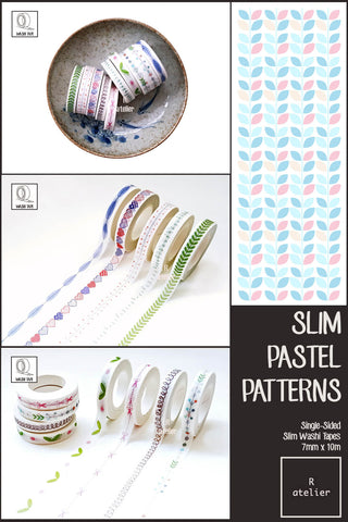 Slim Pastel Patterns Washi Tapes | 7mm x 10m | Value Pack