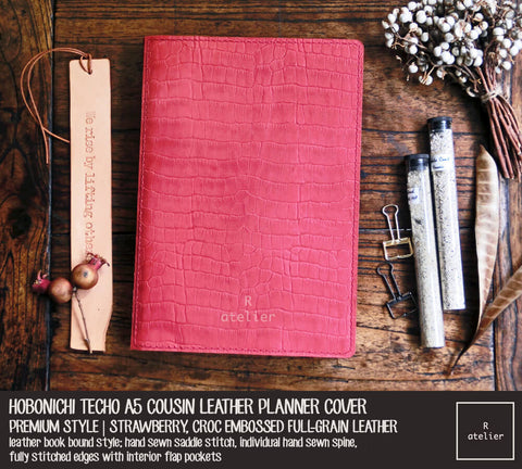 R.atelier Hobonichi Techo Cousin A5 Leather Planner Cover | Strawberry