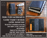 R.atelier Traveler's Notebook | Leather Journal Cover | Black Onyx | Standard Size Starter Kit