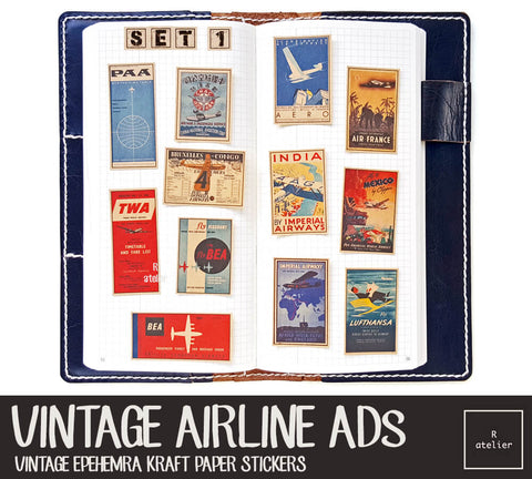 R.atelier Exclusive Kraft Stickers | Vintage Airline Ads (Set 1)