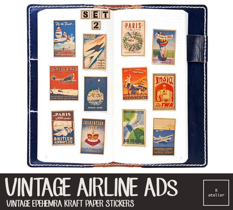 R.atelier Exclusive Kraft Stickers | Vintage Airline Ads (Set 2)