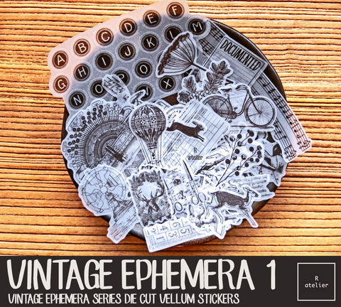 Vintage Ephemera (1) | Die Cut Vellum Stickers