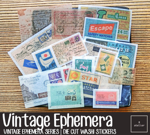 Vintage Ephemera (3) | Die Cut Washi Stickers