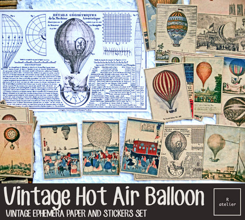 Vintage Hot Air Balloons (R.atelier Exclusive Kraft Stickers)