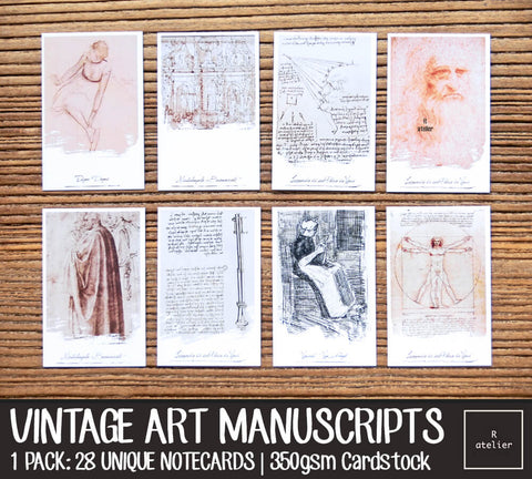 Vintage Art Manuscripts Notecards