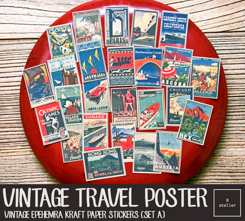 Vintage Travel Posters (Set A) (R.atelier Exclusive Kraft Stickers)
