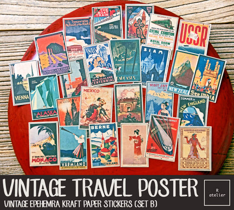 Vintage Travel Posters (Set B) (R.atelier Exclusive Kraft Stickers)