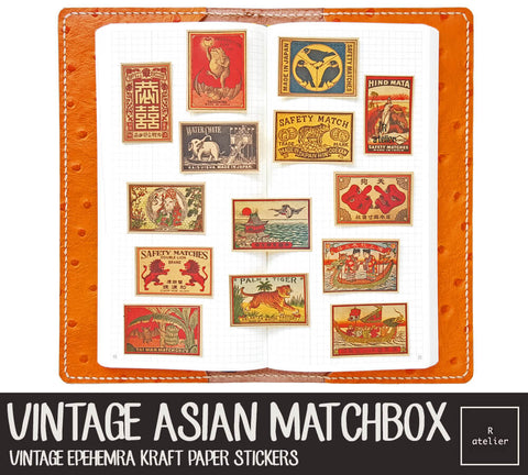 Vintage Asian Matchbox Art (R.atelier Exclusive Kraft Stickers)