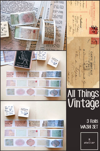 All Things Vintage | 3 Rolls Washi Set