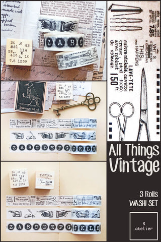 All Things Vintage | 3 Rolls Washi Set (2)