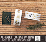 Alphabet and Cursive Writings Gold Foil Washi Tapes
