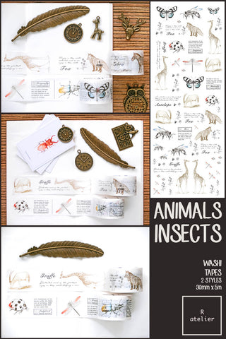 Animals and Insects Washi Tapes | 30mm x 5m