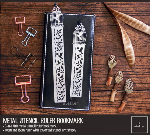 Metal Stencil Ruler Bookmark | Birdcage