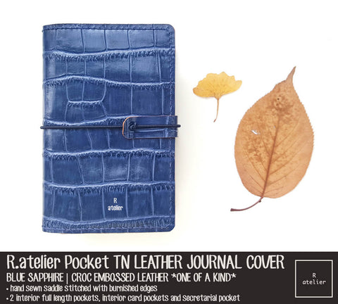 R.atelier Pocket Field Notes TN Leather Journal Cover | Blue Sapphire *One of Kind*