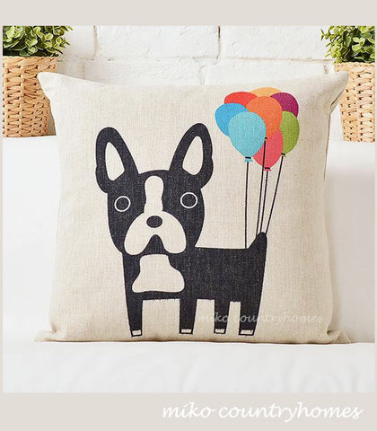 Boston Terrier with Balloons | Throw Pillow Cushion Cover