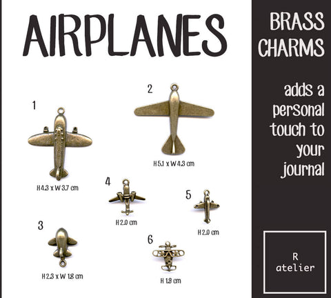 Airplanes Journal Brass Charms