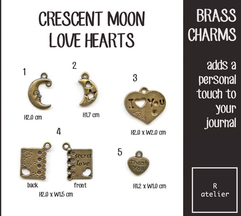Crescent Moon & Love Hearts Journal Brass Charms