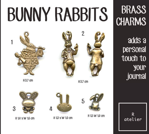 Bunny Rabbits Journal Brass Charms
