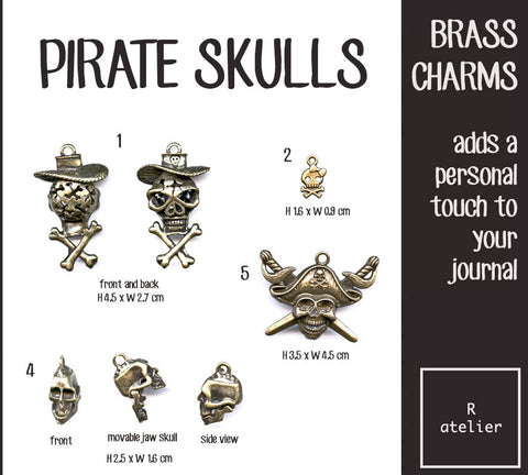 Pirate Skulls Journal Brass Charms