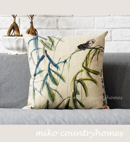 Chinoiserie Nature Inspired Pillow Cover