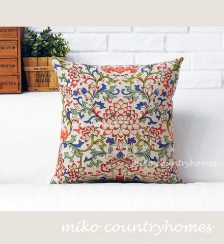 Chinoiserie Floral Art Motif | Lotus Flower | Throw Pillow Cover