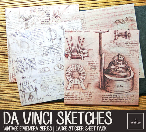 Da Vinci Sketches | Large Sticker Sheet Pack
