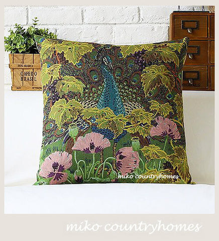 Nature Inspired | Botanical Flora and Fauna | Peacock | Throw Pillow Cover