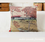 Hiroshige Ukiyo-e Art | Throw Pillow Cover