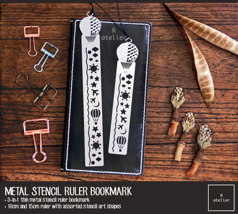 Metal Stencil Ruler Bookmark | Hot-Air Balloon