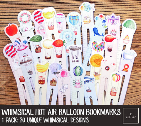 Whimsical Hot Air Balloon Bookmarks