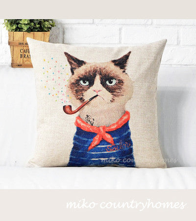 Kitty the Sailor | Decorative Throw Pillow Cover