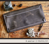 Handmade Leather Foldover Clutch Bag