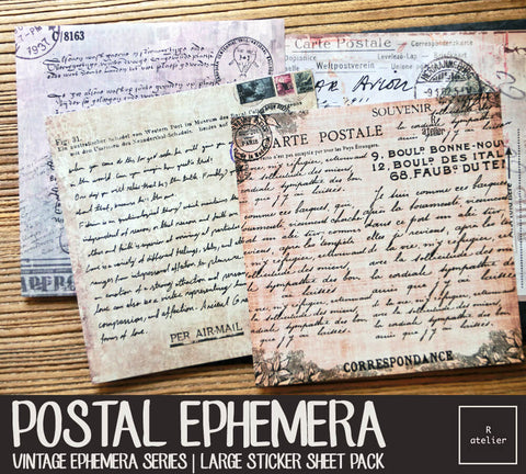 Vintage Postal Ephemera | Large Sticker Sheet Pack