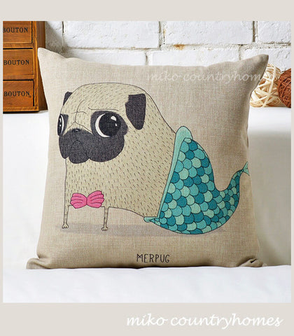 Pug Inspired Series | Mermaid Pug | Throw Pillow Cushion Cover