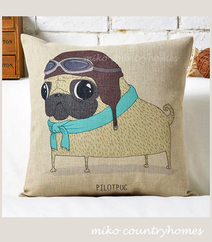 Pug Inspired Series | Pilot Pug | Throw Pillow Cushion Cover