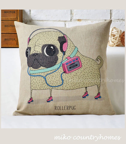 Pug Inspired Series | Roller Pug | Throw Pillow Cushion Cover