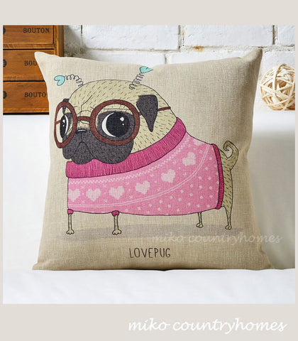 Pug Inspired Series | Love Pug | Throw Pillow Cushion Cover