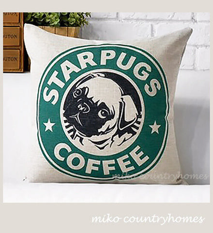 StarPugs Coffee | Throw Pillow Cushion Cover