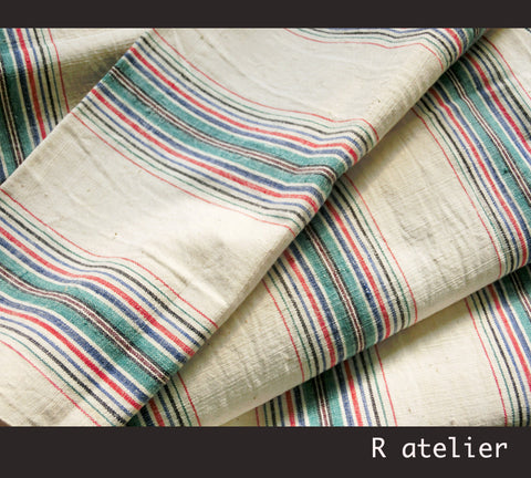 Vintage Chinese Fabric | Handwoven Cotton | Fabric By The Yard | Multicolor Stripe #004