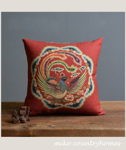 Chinoiserie Chinese Phoenix Pillow Cover
