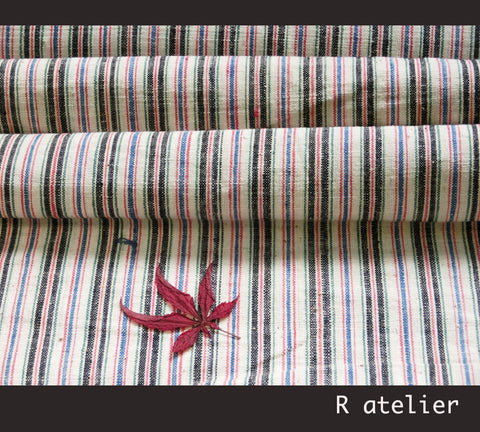 Vintage Chinese Fabric | Handwoven Cotton | Fabric By The Bolt | Multicolor Stripe #010